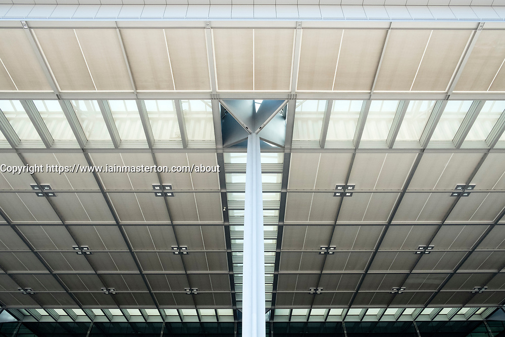 View of architectural detail on roof at Berlin Brandenburg Willy Brandt Airport Terminal uncompleted and 7 years behind schedule in Berlin Germany