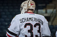 KELOWNA, CANADA - OCTOBER 4:  Jarrod Schamerhorn #33 of the Portland Winterhawks stands on the ice at the Kelowna Rockets on October 4, 2013 at Prospera Place in Kelowna, British Columbia, Canada (Photo by Marissa Baecker/Shoot the Breeze) *** Local Caption ***