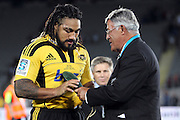 Hurricanes' Ma'a Nonu is presented with his 100th appearance for the Hurricanes. Super 15 rugby union match, Blues v Hurricanes at Eden Park, Auckland, New Zealand. Saturday 19th March 2011. Photo: Anthony Au-Yeung / photosport.co.nz