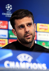 Thiago Motta of PSG talks to the press - Mandatory byline: Matt McNulty/JMP - 07966386802  - FOOTBALL - Manchester City v PSG - Etihad Stadium -Manchester,England - UEFA Champions League