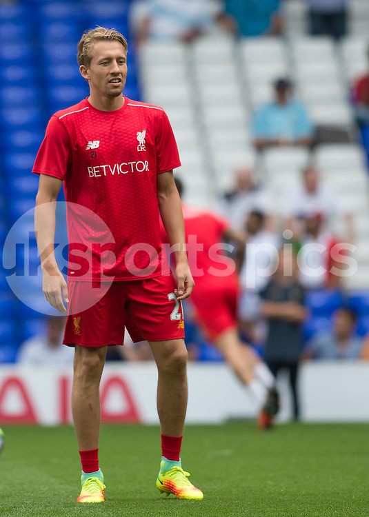 Lucas Leiva of Liverpool warms up before the Premier League match between Tottenham Hotspur and Liverpool at White Hart Lane, London, England on 27 August 2016. Photo by Vince  Mignott.