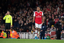 LONDON, ENGLAND - Thursday, December 5, 2019: Arsenal's Pierre-Emerick Aubameyang returns after running off the pitch in the middle of the game during the FA Premier League match between Arsenal FC and Brighton & Hove Albion FC at the Emirates Stadium. (Pic by Vegard Grott/Propaganda)