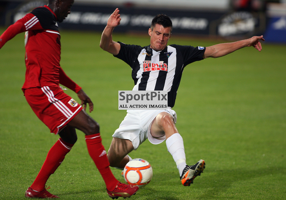 Dunfermline Athletic v Bristol City Pre-Season Friendly East End Park 1 August 2012.Trialist Stephen Jordan puts in a challenge...(c) Craig Brown | StockPix.eu
