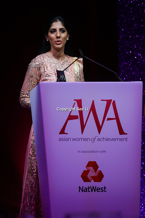 London, UK. 10th May 2017. Social & Humanitatian award to Sofia Buncy at The Asian Women of Achievement Awards 2017 at the London Hilton on Park Lane Hotel. Photo by See li Credit: See Li