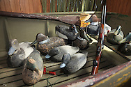 Duck decoys and other hunting gear once owned and used by famous outdoor writer Gordon MacQuarrie and now on display at the Barnes Historical Museum in Bayfield County, Wisconsin.