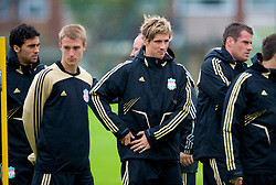 LIVERPOOL, ENGLAND - Tuesday, September 30, 2008: Liverpool's Fernando Torres and Stephen Darby training at Melwood ahead of the UEFA Champions League Group D match against PSV Eindhoven. (Photo by David Rawcliffe/Propaganda)