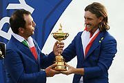Francesco Molinari (Ita) and Tommy Fleetwood (Eng) during the sunday singles session of Ryder Cup 2018, at Golf National in Saint-Quentin-en-Yvelines, France, September 30, 2018 - Photo Philippe Millereau / KMSP / ProSportsImages / DPPI