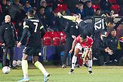 Macclesfield Town defender Miles Welch-Hayes fouled by the opponent during the EFL Sky Bet League 2 match between Salford City and Macclesfield Town at the Peninsula Stadium, Salford, United Kingdom on 23 November 2019.