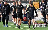 Fotball , 29. juli 2020 , Eliteserien  ,  Mjøndalen - Odd<br /> trener vegard Hansen og Øyvind leonhardsen