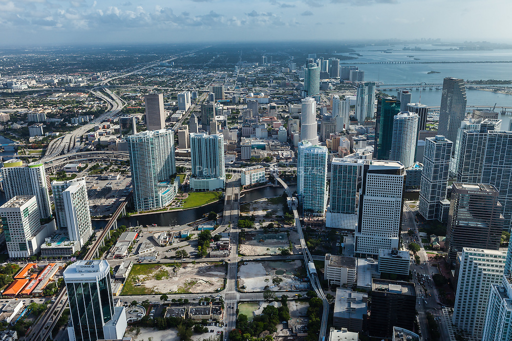 Downtown Miami aerial view showing the Brickell district and Brickell City Centre development site.