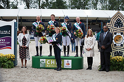 Team England, Clee Joe, Maher Ben, Mendoza Jessica, Whitaker Michael, Chef d'equipe, Lampard Di<br /> Furusiyya FEI Nations Cup™ presented by Longines<br /> CHIO Rotterdam 2015<br /> © Hippo Foto - Dirk Caremans<br /> 19/06/15