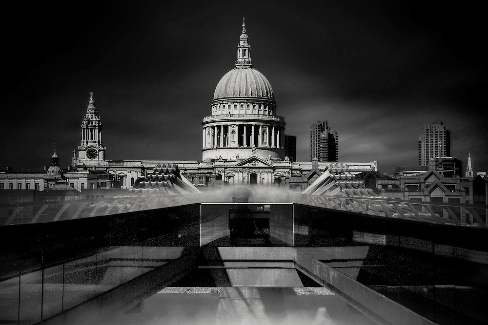 A 300 sec long exposure of St Pauls Cathedral from the Millenium Bridge using a R72 filter with a B&amp;W conversion.<br />