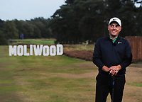 Golf - 2018 Sky Sports British Masters - Thursday, First Round<br /> <br /> Francesco Molinari of Italy with the sign 'Moliwood' which was created after his wins in the Ryder Cup with his partner Tommy Fleetwood, at Walton Heath Golf Club.<br /> <br /> COLORSPORT/ANDREW COWIE