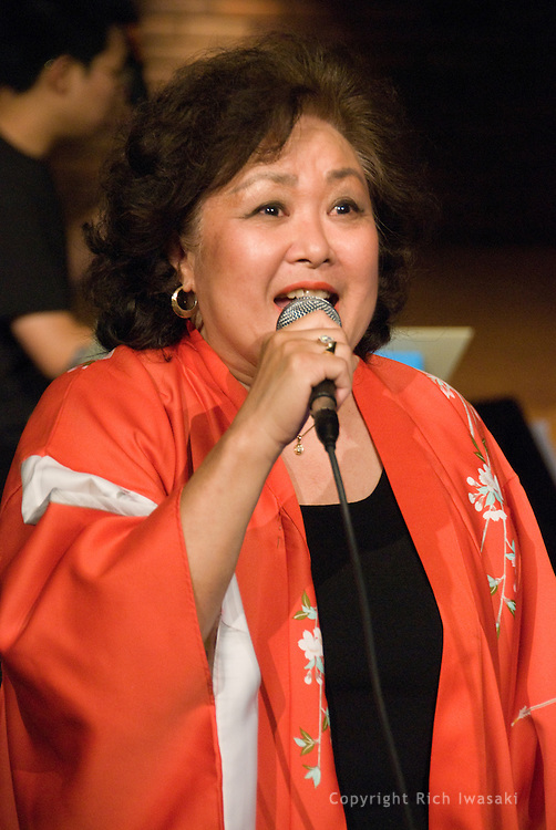 Vocalist Nola Bogle performs at the Minidoka Swing Band Benefit concert, Agnes Flanagan Chapel, Lewis & Clark College, Portland, Oregon