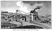 Harrington Pit Mill Colliery. Early 19th century pit head, showing steam engine house, the energy source for winding gear which superseded the horse whim (left).