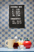 Trading board on wall with wallpaper containers and mug selective focus
