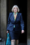 Home Secretary  Theresa May leaves The Royal Courts of Justice in London, UK on May 29th 2012..Today the Home Secretary gave evidence at The Leveson Inquiry into press standards at The High Court...Photo Ki Price