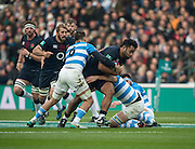 Twickenham, United Kingdom. Billy VUNIPOLA, running, with the ball, during the Old Mutual Wealth Series Rest Match: England vs Argentina, at the RFU Stadium, Twickenham, England, <br /> <br /> Saturday  26/11/2016<br /> <br /> [Mandatory Credit; Peter Spurrier/Intersport-images]