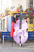 08/09/2014 repro free Beau Holland, stilt walker at the launch of Music for Galway's 34th International Concert Season.  Photo:Andrew Downes