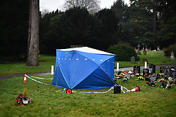 © Licensed to London News Pictures. 09/03/2018. Salisbury, UK. A forensics tent over a gravestone at Salisbury Crematoruim, as aprt of the investigation in to the poisoning of Former Russian spy Sergei Skripal and his daughter Yulia. The couple where found unconscious on bench in Salisbury shopping centre. A policeman who went to their aid is currently recovering in hospital. Photo credit: Ben Cawthra/LNP