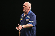 Robert Thornton rues a missed double during the Premier League Darts  at the Motorpoint Arena, Cardiff, Wales on 31 March 2016. Photo by Shane Healey.