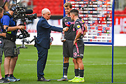 Pablo Hernandez of Leeds United (19) and Patrick Bamford of Leeds United (9)  interviewed after the match during the EFL Sky Bet Championship match between Bristol City and Leeds United at Ashton Gate, Bristol, England on 4 August 2019.