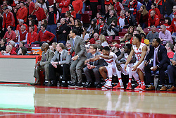 11 February 2017:  Dan Muller, Head Coach and the Redbird bench during a College MVC (Missouri Valley conference) mens basketball game between the Bradley Braves and Illinois State Redbirds in  Redbird Arena, Normal IL