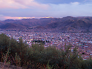 High-angle, sunset view across Cusco, Peru from Cristo Blanco.