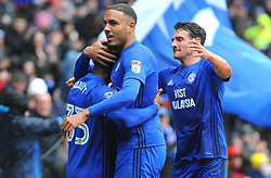 Kenneth Zohore of Cardiff City celebrates his goal with Junior Hoilett of Cardiff City after making it 1-0 - Mandatory by-line: Nizaam Jones/JMP- 30/03/2018 -  FOOTBALL -  Cardiff City Stadium- Cardiff, Wales -  Cardiff City v Burton Albion - Sky Bet Championship