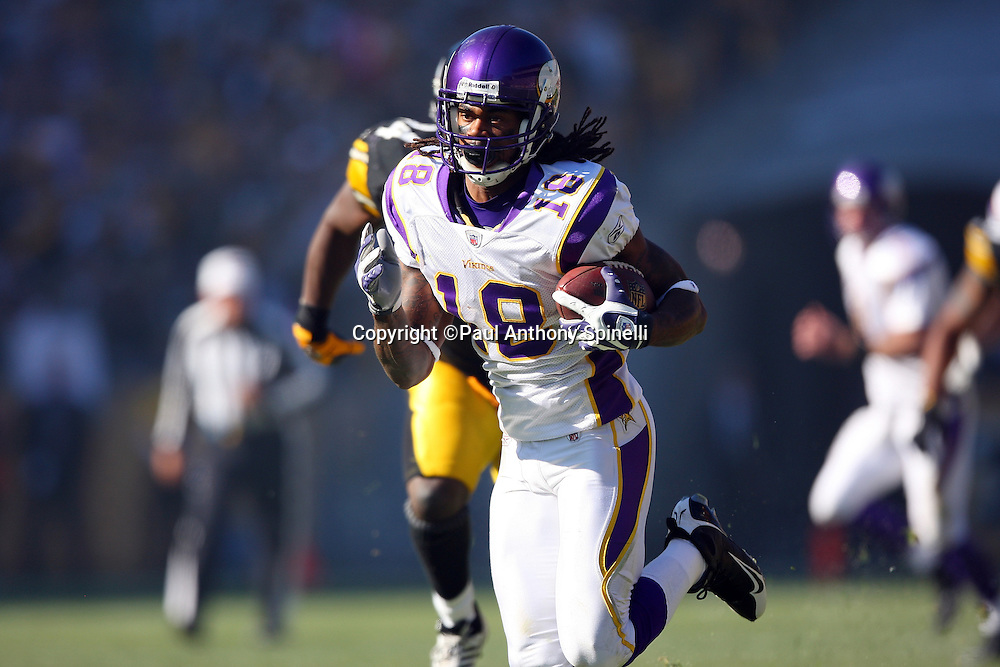 Minnesota Vikings wide receiver Sidney Rice (18) catches a pass on fourth and one while being chased by Pittsburgh Steelers safety Troy Polamalu (43) in the third quarter during the NFL football game, October 25, 2009 in Pittsburgh, Pennsylvania. The Steelers won the game 27-17. (©Paul Anthony Spinelli)