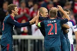 17-09-2013 VOETBAL: UEFA CL FC BAYERN MUNCHEN - CSKA MOSKOU: MUNCHEN<br /> Jubel nach dem Tor zum 3-0 durch Arjen Robben (FCB #10) mit Thomas Mueller (FCB #25) Philipp Lahm (FCB #21) <br /> ***NETHERLANDS ONLY***<br /> ©2013-FotoHoogendoorn.nl