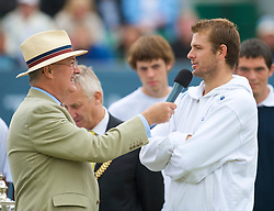 LIVERPOOL, ENGLAND - Saturday, June 20, 2009: Champion Mardy Fish (USA) is interviewed by BBC Radio Merseyside's Alan Jackson during the presentation ceremony after the Men's Final on Day Four of the Tradition ICAP Liverpool International Tennis Tournament 2009 at Calderstones Park. (Pic by David Rawcliffe/Propaganda)