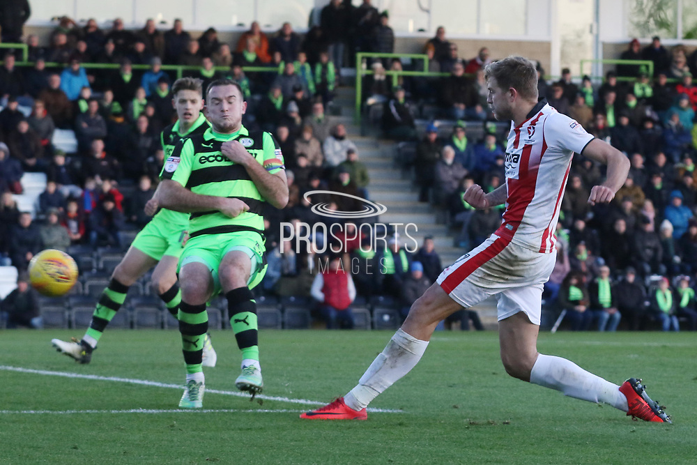 Harry Pell shoots past Lee Collins during the EFL Sky Bet League 2 match between Forest Green Rovers and Cheltenham Town at the New Lawn, Forest Green, United Kingdom on 25 November 2017. Photo by Antony Thompson.