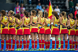 The Spansh team line up before the match. Germany v Spain - 3rd/4th Playoff Unibet EuroHockey Championships, Lee Valley Hockey & Tennis Centre, London, UK on 30 August 2015. Photo: Simon Parker