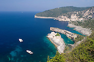 An aerial view of the dramatic limestone formations at Bougazi and Avlaki on the west coast of Paxos, Ionian Islands,<br /> Greece