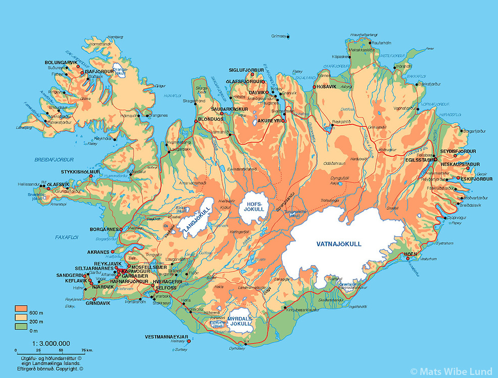 Map of Iceland Copyright Landmælingar Islands.