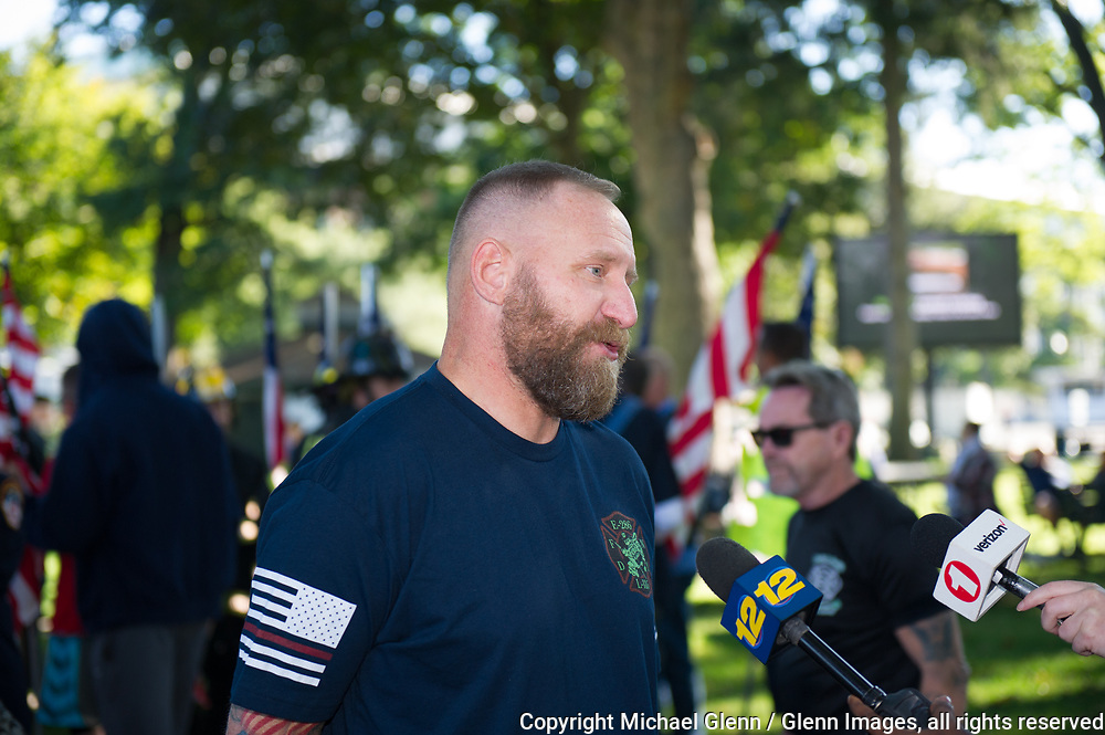1 Oct 2017 Elmont, New York United States of America // Family of FF William Tolley speaks to the media at the 3RD annual national stair climb for fallen firefighters at the Belmont Park racetrack  Michael Glenn  /   for the FDNY