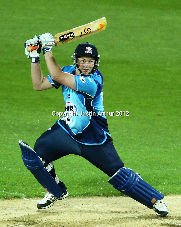 Aces' Colin Munro batting during the 2012/2013 HRV Cup Twenty20 session. Wellington Firebirds v Auckland Aces at Westpac Stadium, Wellington, New Zealand on Friday 16 November 2012. Photo: Justin Arthur / photosport.co.nz