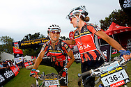 Oak Valley ( Elgin / Grabouw ), SOUTH AFRICA - Sharon LAws, congratulates partner Hanlie Booyens after winning stage six , 6 , of the Absa Cape Epic Mountain Bike Stage Race in Oak Valley ( Elgin / Grabouw ) on the 27 March 2009 in the Western Cape, South Africa..Photo by Karin Schermbrucker /SPORTZPICS