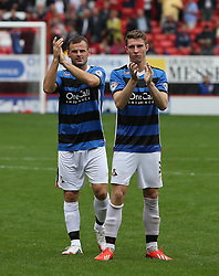 Doncaster Rovers' James Husband and Richard Wellens clap the fans at the end of the abandoned game  - Photo mandatory by-line: Robin White/JMP - Tel: Mobile: 07966 386802 24/08/2013 - SPORT - FOOTBALL - The Valley - Charlton -  Charlton Athletic V Doncaster Rovers - Sky Bet League Two