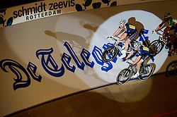 06-01-2012 WIELRENNEN: RABOBANK ZESDAAGSE: ROTTERDAM<br /> (L-R) Roy Pieters, Jesper Morkov DEN, gesponsord door De Telegraaf, tijdens de voorstelronde<br /> (c)2012-FotoHoogendoorn.nl / Peter Schalk