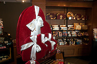 Rogers Chocolates in Whistler features velvet heart boxes filled with chocolates.
