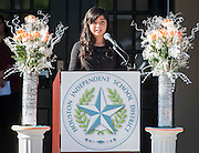 Mercedes Diaz Ramirez comments during a ceremony to rename Jackson Middle School to Navarro Middle School in honor of Yolanda Black Navarro, October 5, 2016.