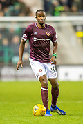 Arnaud Djoum (#10) of Heart of Midlothian during the Ladbrokes Scottish Premiership match between Hibernian FC and Heart of Midlothian FC at Easter Road Stadium, Edinburgh, Scotland on 29 December 2018.
