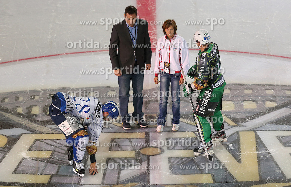 14.09.2012, Amphitheater, Pula, CRO, EBEL, Ice Fever, KHL Medvescak Zagreb vs HDD Olimpija Ljubljana, 03. Runde, im Bild Alan Letang i Ales Music // during the Erste Bank Icehockey League 03rd Round match betweeen KHL Medvescak Zagreb and HDD Olimpija Ljubljana at the Amphitheater, Pula, Croatia on 2012/09/14. EXPA Pictures © 2012, PhotoCredit: EXPA/ Pixsell/ Igor Kralj ***** ATTENTION - OUT OF CRO, SRB, MAZ, BIH and POL *****