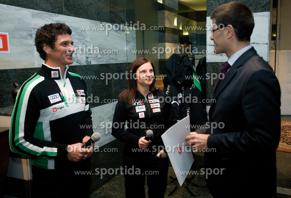 Primoz Vrhovnik, Sasa Faric and Matjaz Rakovec at press conference when Zavarovalnica Triglav sign a sponsorship contract with Slovenian 4-cross skier Sasa Faric, on January 14, 2010 in Ljubljana, Slovenia. (Photo by Vid Ponikvar / Sportida)
