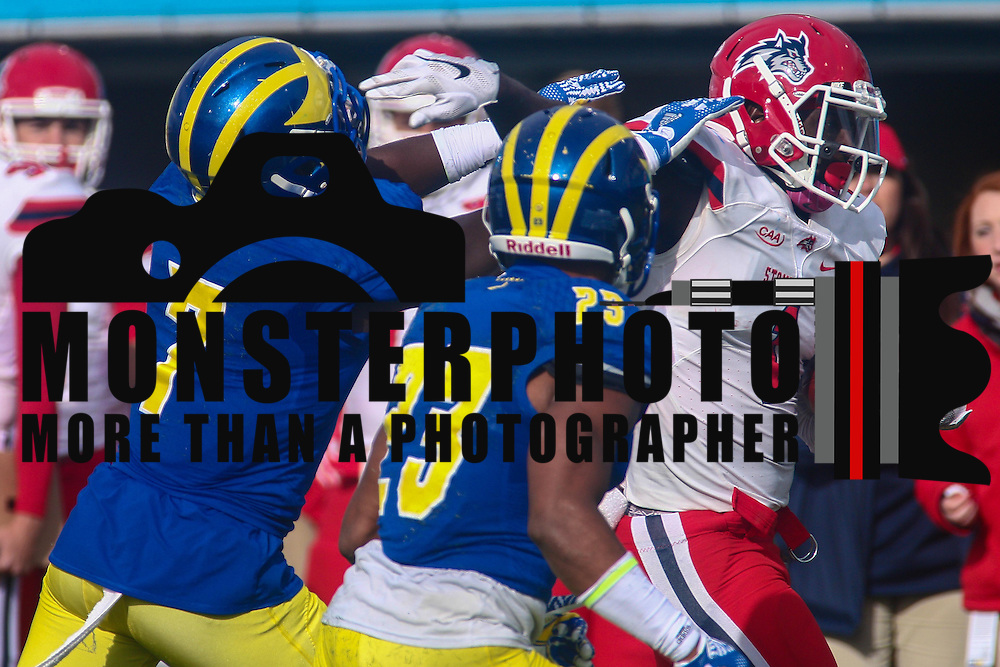Stony Brook wide receiver TIM KEITH (1) catches a pass for 22 yards during a week eight game between the Delaware Blue Hens and the Stony Brook Seawolves, Saturday, Oct. 22, 2016 at Tubby Raymond Field at Delaware Stadium in Newark, DE.