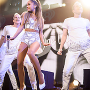 "WASHINGTON, DC - December 15th, 2014 - Ariana Grande performs onstage during HOT 99.5's Jingle Ball 2014 at the Verizon Center in Washington, D.C. Her 2014 album My Everything contained the hit singles ""Problem"" and Break free."" (Photo By Kyle Gustafson / For The Washington Post)"