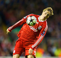 LIVERPOOL, ENGLAND - Wednesday, September 16, 2009: Liverpool's Fernando Torres in action against Debreceni during the UEFA Champions League Group E match at Anfield. (Photo by David Rawcliffe/Propaganda)
