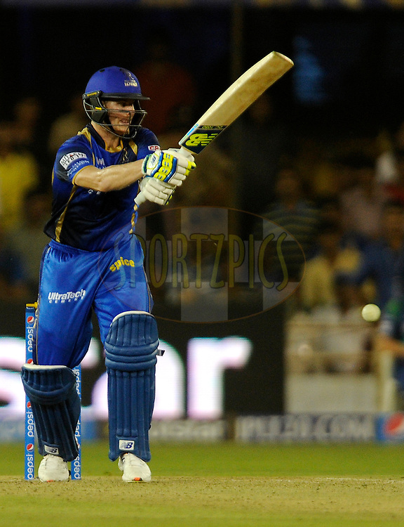 Steven Smith of Rajasthan Royals bats during match 9 of the Pepsi IPL 2015 (Indian Premier League) between The Rajasthan Royals and The Mumbai Indians held at the Sardar Patel Stadium in Ahmedabad , India on the 14th April 2015.<br /> <br /> Photo by:  Pal Pillai / SPORTZPICS / IPL